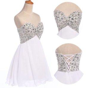 Trägerlose Kleid weiß Tüll NEU