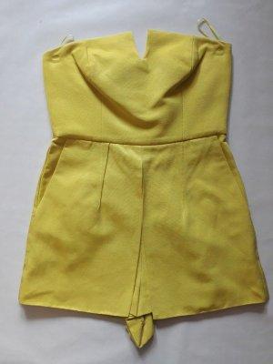 Trägerloser Jumpsuit Einteiler in gelb sonnengelb Playsuit mit Rock - Teil Gr. 36, Neu ohne Etikett