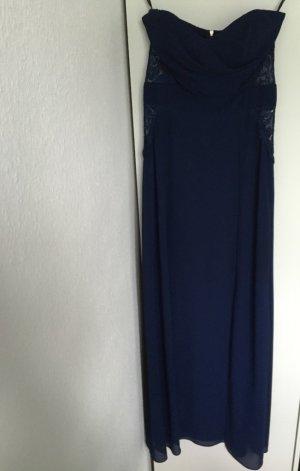 Trägerloses Abendkleid mit Spitzen-Einsätzen * Gr. 36 * dunkelblau *ASOS