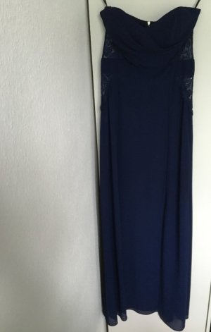 Trägerloses Abendkleid mit Spitzen-Einsätzen von ASOS * dunkelblau * Gr. 36