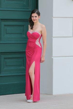 trägerloses Abiballkleid / Abendkleid pink mit Glitzersteinen