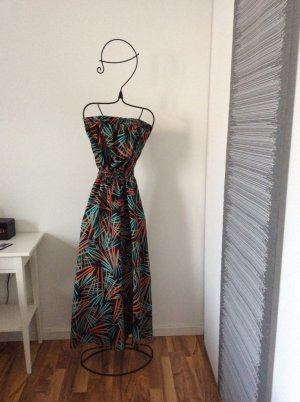 Trägerloses bodenlanges schwarz-türkis-oranges Sommerkleid in 34