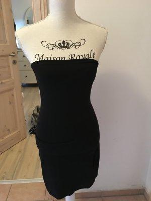 Trägerloses, enges schwarzes Kleid