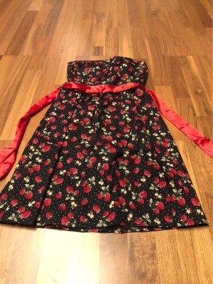 Smashed lemon Bandeau Dress black-red