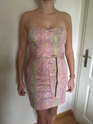 H&M Off the shoulder jurk roze-geel