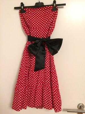 Trägerloses Kleid Petticoat Punkte Sommer Größe 38 Schleife Rockabilly