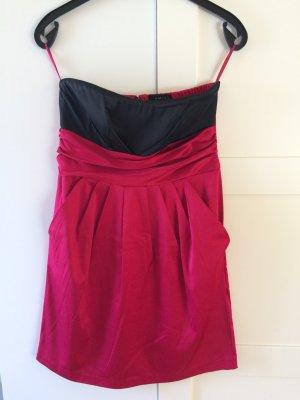 Trägerloses Kleid rot/schwarz Gr. 36