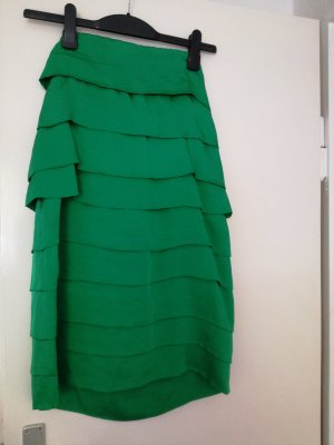 Zara Woman Flounce Dress green viscose