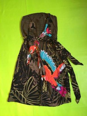 Trägerloses Sommerkleid mit Papageienprint