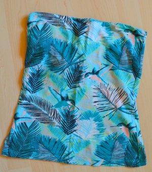 trägerloses Top, Kolibri-Palmenprint