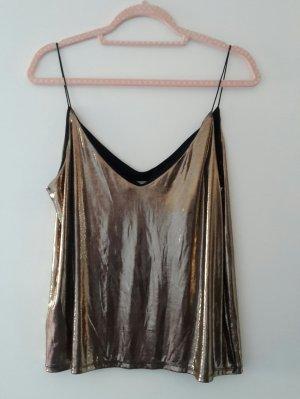 H&M Top con bretelline nero-bronzo