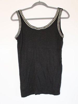 H&M Top de tirantes negro-color plata Viscosa
