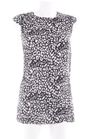 Top de tirantes negro-blanco puro estampado con diseño abstracto look casual