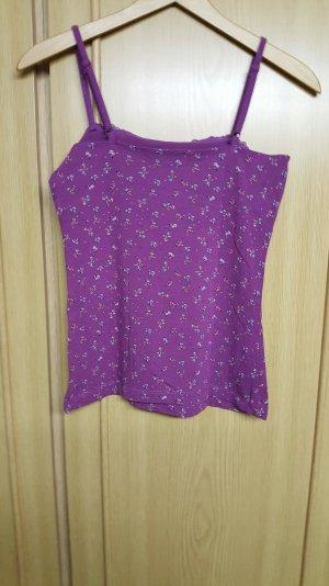 Trägertop, violett-Geblümt mit Spitzenrand