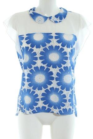 Traffic people Kurzarm-Bluse blau-weiß abstraktes Muster Casual-Look