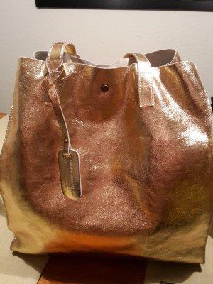 Tragetasche rosé-gold Handtasche Leder