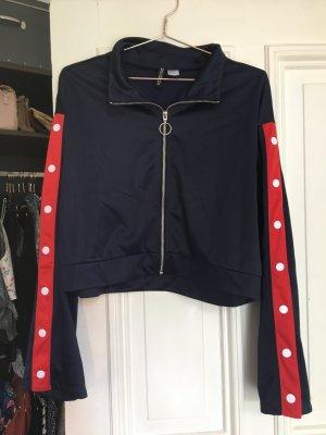 Trainingsjacke Jacke Sport Workout kurz cropped bauchfrei Trend blau rot Knöpfe Knöpfen Adidas like