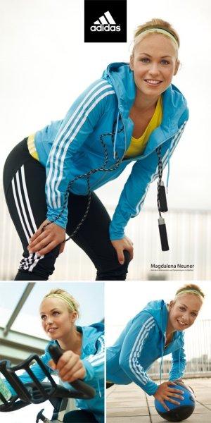 Adidas Giacca con cappuccio blu neon