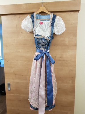 Tramontana Dirndl blau und rosa inklusive Bluse von Krüger