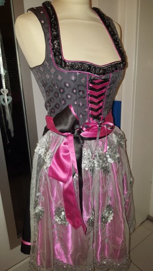 Tramontana Dirndl Gr. 34 grau pink schwarz