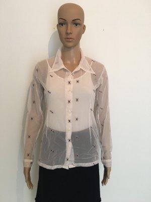 Transparent Netz Nylon Stickerei 34 bequem  Hemd Bluse langärmelige zeitlos Weiß Bordeaux grau