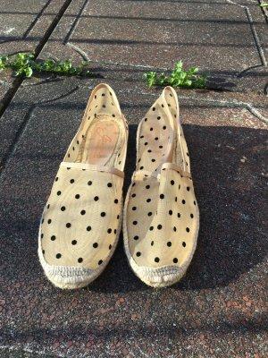 Transparent Punkte espadrilles Schuhe Halbschuhe slipper hautfarbene gepunktet schwarz neu geflochtene Sohle