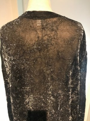 Vintage Blouse brillante argenté-noir