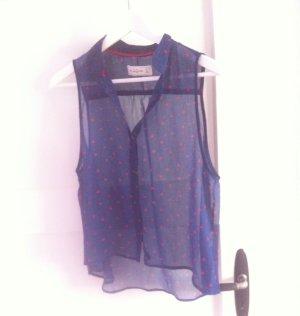 Transparente ärmellose Bluse von abercrombie and fitch Blau mit roten Punkten