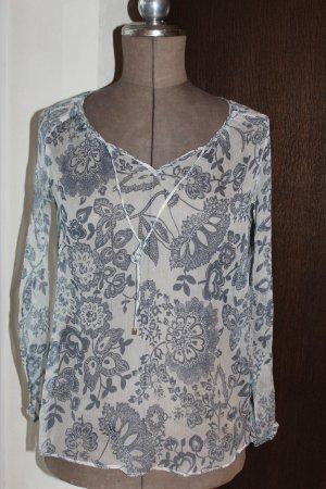 transparente Bluse / Blusenshirt / Tunika mit blauen Blumenmuster