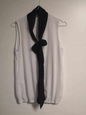 Amisu Mouwloze blouse wit-zwart