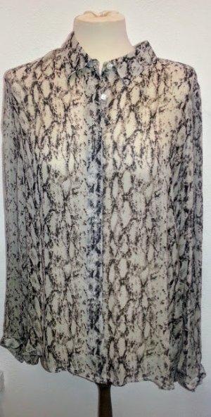 Transparente Bluse im Animal Print Grau L