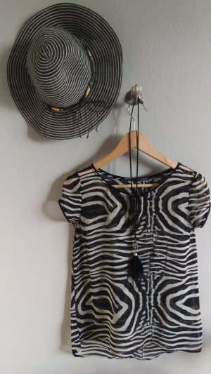 transparente Bluse im Zebradesign Größe S