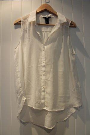 Transparente Bluse in weiß mit Kragen