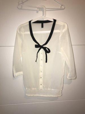 transparente Bluse mit 3/4-Ärmeln und schwarzer Bluse