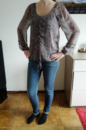 transparente Bluse mit Blumen und Vogel Muster