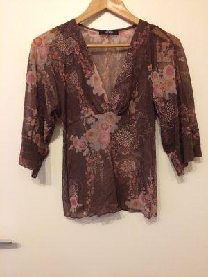Transparente Bluse mit Blumenmuster