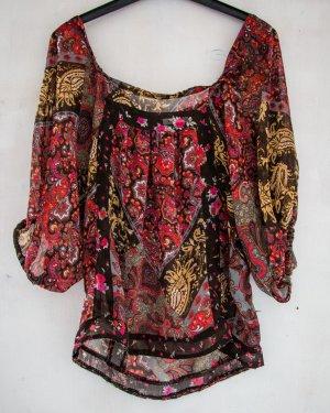 Transparente Bluse mit Blumenprint Größe 34