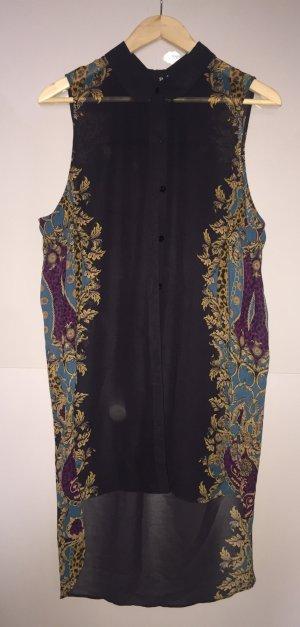 Transparente Bluse mit buntem, barockem Akzent