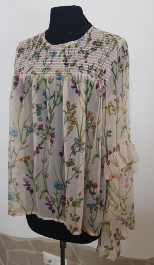 transparente Bluse mit floralem Muster Gr. 42