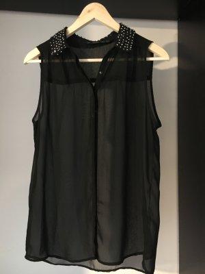 Transparente Bluse mit glitzerndem Kragen von Zara