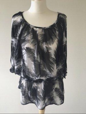 H&M Camisa con cuello caído blanco-negro