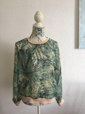 Transparente Bluse mit Palmen Print ♥ tropical ♥ Blogger