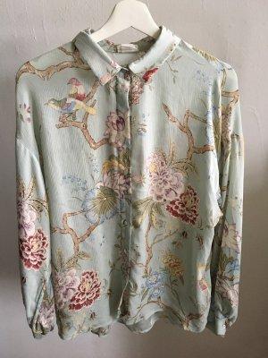 Transparente Bluse mit Print