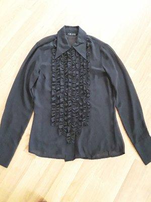 transparente Bluse mit Rüschen, Gr 36, schwarz
