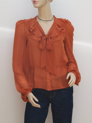 transparente Bluse mit Schluppe, dunkles orange, neuwertig