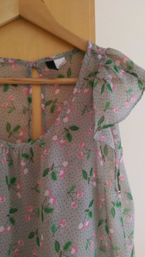 Transparente Bluse mit sommerlichen Kirschen