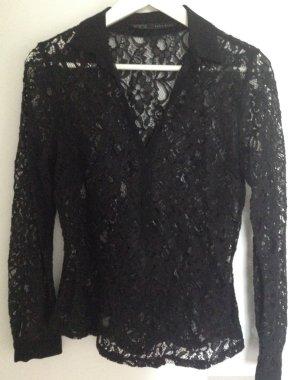 Transparente Bluse mit Spitze / Spitzenbluse / Langarm-Bluse (Größe M)