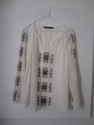 Transparente Bluse mit Stickerei im Boho Style