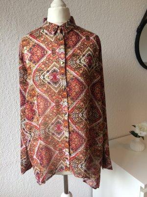 Transparente Bluse | Orientalisches Muster | Goldene Knöpfe