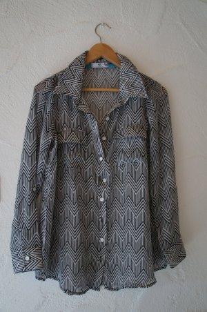 Transparente Bluse schwarz weiß mit Zickzackmuster AJC